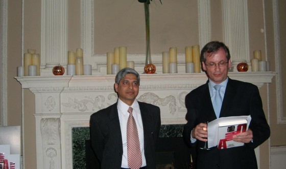 In London where it all started. With Patrick Janson Smith, then chief of Doubleday at the London launch of Q&A April 14, 2005