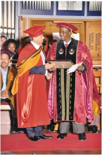 The University of South Africa awarded Swarup with an honorary doctorate